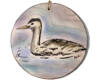 Grebe Bird Encaustic Ornament - Birdtober | Inktober 2021 No. 10 of 31 - Beeswax Mixed-Media by Rachel Rivas-Plata