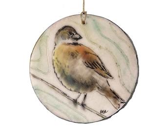 Dickcissel Bird Encaustic Ornament - Birdtober | Inktober 2021 No. 11 of 31 - Beeswax Mixed-Media by Rachel Rivas-Plata