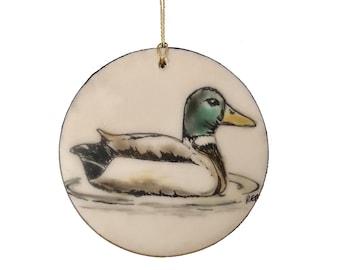 Mallard Duck Encaustic Ornament - Birdtober | Inktober 2021 No. 20 of 31 - Beeswax Mixed-Media by Rachel Rivas-Plata
