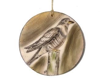 Cuckoo Bird Encaustic Ornament - Birdtober | Inktober 2021 No. 14 of 31 - Beeswax Mixed-Media by Rachel Rivas-Plata