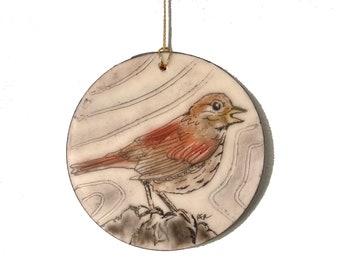 Fox Sparrow Bird Encaustic Ornament - Birdtober | Inktober 2021 No. 13 of 31 - Beeswax Mixed-Media by Rachel Rivas-Plata