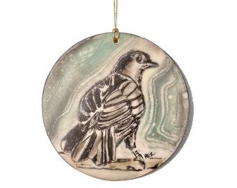 Gray Catbird Encaustic Ornament - Birdtober | Inktober 2021 No. 15 of 31 - Beeswax Mixed-Media by Rachel Rivas-Plata