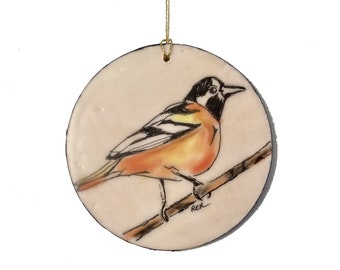 Baltimore Oriole Encaustic Ornament - Birdtober | Inktober 2021 No. 16 of 31 - Beeswax Mixed-Media by Rachel Rivas-Plata