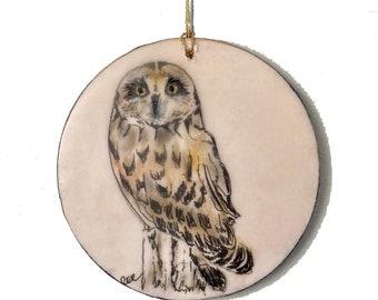 Short-Eared Owl Encaustic Ornament - Birdtober | Inktober 2021 No. 9 of 31 - Beeswax Mixed-Media by Rachel Rivas-Plata