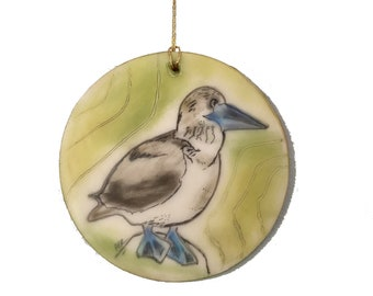 Blue-Footed Booby Bird Encaustic Ornament - Birdtober | Inktober 2021 No. 17 of 31 - Beeswax Mixed-Media by Rachel Rivas-Plata