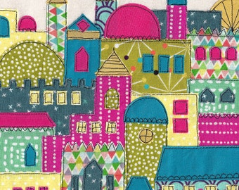 Israel / middle eastern inspired print of original colourful fabric machine freehand embroidery and appliqué. Exotic cityscape.