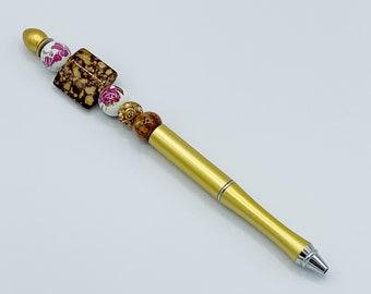 Gold Floral Planner Pen, Custom Beaded Pen, Shabby Chic Planner, Planner Marker, Planner Accessories, Bujo, Bullet Journal, Write, Vintage
