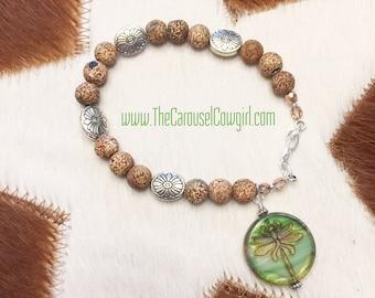 Dragonfly Bracelet, Etched Dragonfly on Glass, Glass Dragonfly, Dragonfly Jewelry, Dragonflies, Nature Bracelet, Dragonfly Jewelry, Nature