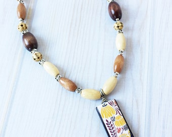 Wooden Beaded Necklace with Painted Flower Focal - Painted Flower Pendant - Wooden Beads - Nature Necklace - Boho Necklace