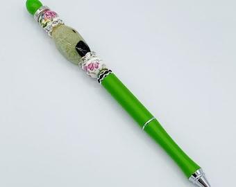 Green Agate Floral Planner Pen, Custom Beaded Pen, Shabby Chic Planner, Planner Marker, Planner Accessories, Bujo Pen, Bullet Journal, Write