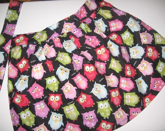 OWL PRINT APRON for age 4-6 and 6-9 years old.