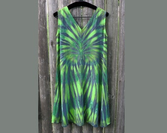 Forest Glade Tie-Dye Rayon Tank Dress