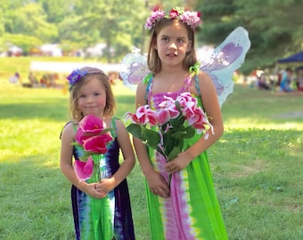 Pink and Green Fairie Dress - Fairy Costume for Youth and Adults
