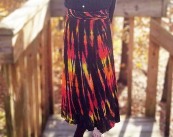 Dramatic long skirt in flowing rayon knit, tie-dyed in fire colors