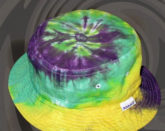 Mardi Gras Tie-Dye Bucket Hat for Kids and Adults