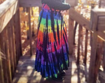 Dramatic long skirt in flowing rayon knit, tie-dyed in vibrant rainbow and black