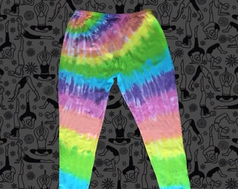 Pastel Rainbow Tie-dye Cotton Leggings