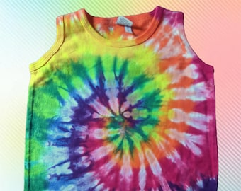 Rainbow Tie-dye Tank Romper for Cool Babies 12 months