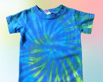 Blue and Green Tie-dye Tee Romper for Cool Babies
