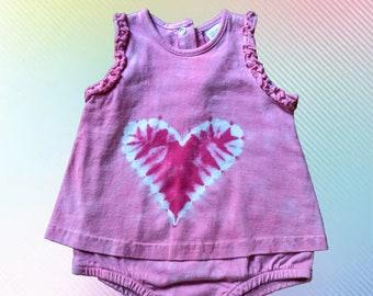 Pink Heart Romper Dress, 3 months