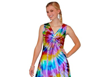 Tie-Dye Sleeveless Festival Midi Dress with Twist Front