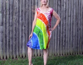 Rainbow Arc V-neck Tie-Dye Rayon Tank Dress