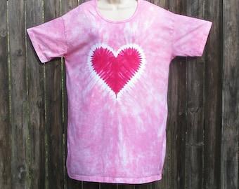 Pink Heart Tie-dye Sleep Tee, Dress, or Beach Cover-Up