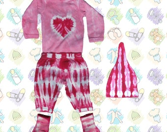 Pink Heart and Stripes Tie-Dye Winter Baby Outfit