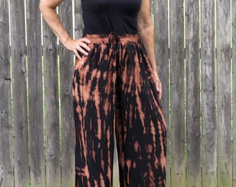 Burnout Black Rayon Loose Pants