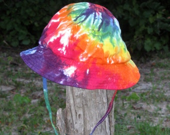 Tie-Dye Rainbow Sun Hat with Strap for Infants and Toddlers