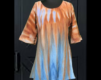 Unique Snow Dyed Bronze and Blue Tunic