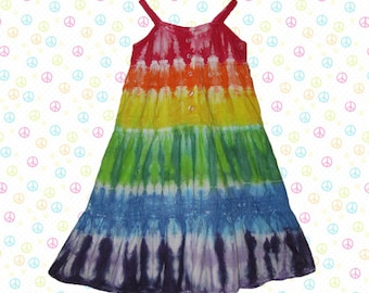 Girls sleeveless rainbow tie-dye cotton dress with lace