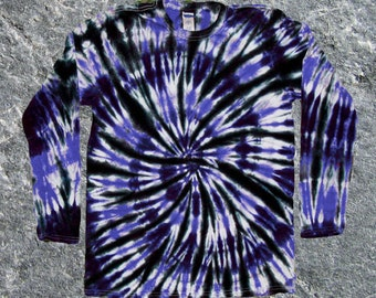 Black and Royal Blue Long-sleeved Tie-Dye Tee