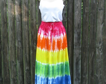 Long Tie-Dyed Rainbow Rayon Skirt