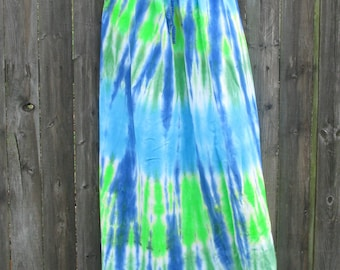 Long Rayon Skirt Tie-dyed in Dramatic Colors