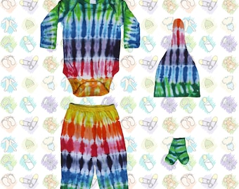 Rainbow Stripes Tie-Dye Onsie, Pants, Hat, & Socks for Baby