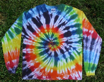 Rainbow Spiral Tie-dye Long-sleeved Tee Shirt