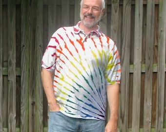 Rainbow Arc Tie-Dye Golf Shirt