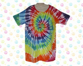 Rainbow Spiral Tie-dye Sleep Tee, Dress, or Beach Cover-Up