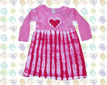 Pink Heart Tie-Dye Long Sleeve Infant Dress