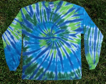 Ocean Spiral Tie-dye Long-sleeved Tee Shirt