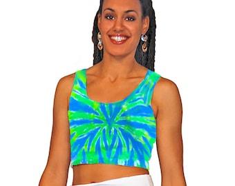 Tie-dye crop top in blue and green