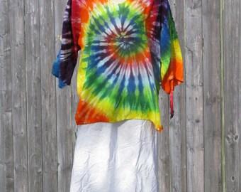 Rainbow Tie-Dye Greek Islands Rayon Tunic