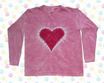 Kids Pink Heart Tie-dye Long-sleeved Tee Shirt