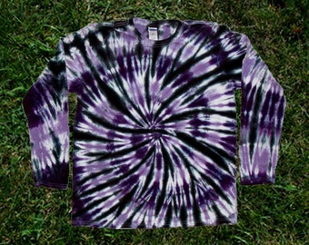Purple and Black Tie-dye Long-sleeved Tee Shirt