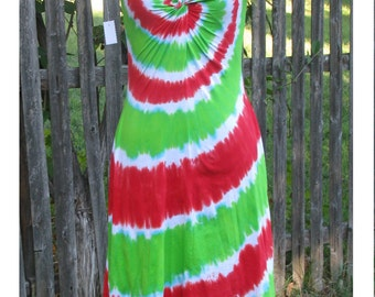 Watermelon Tie-Dye Twist Front Dress with Short Sleeves