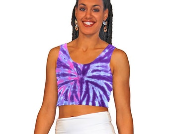 Tie-dye crop top in pink and purple