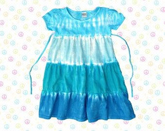 Girls mermaid tie-dye short-sleeved dress