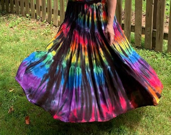 Long Tie-Dyed Rainbow and Black Gypsy Skirt