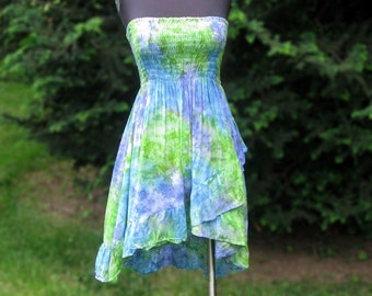 Green and Blue Ruffled Skirt or Dress